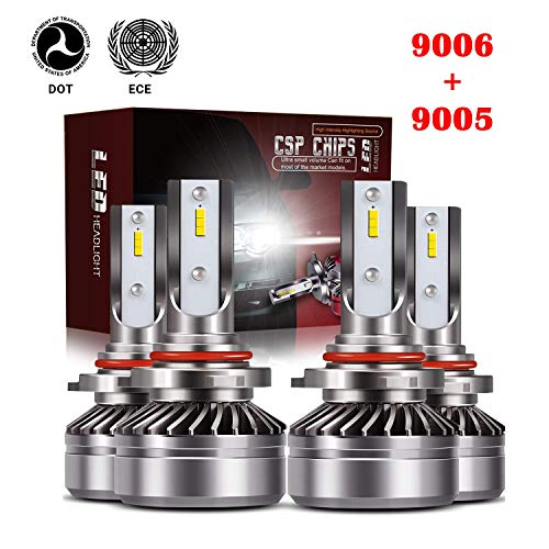 TURBOSII Extremely Bright 9005//HB3 High Beam 9006//HB4 Low Beam Led Headlight bulbs Conversion Kits,DOT Approved D6 Series CSP Chips,12000LM 6000K Cool White 4Pack,2 sets,Silver