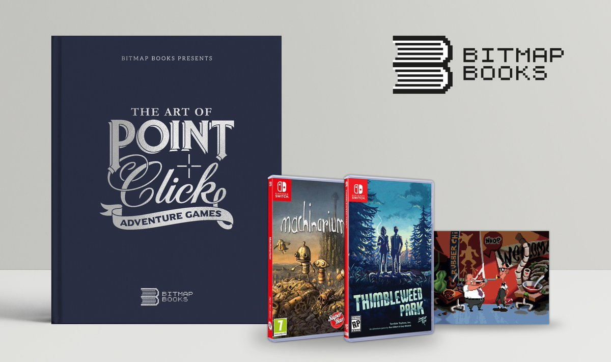 **COMPETITION TIME** To celebrate the restocking of The Art of Point-and-Click Adventure Games, you could win a signed book, 2 new Nintendo Switch games and a set of postcards. Just follow @bitmap_books and RT this post for chance of winning. Winner chosen at random on 1/08/19