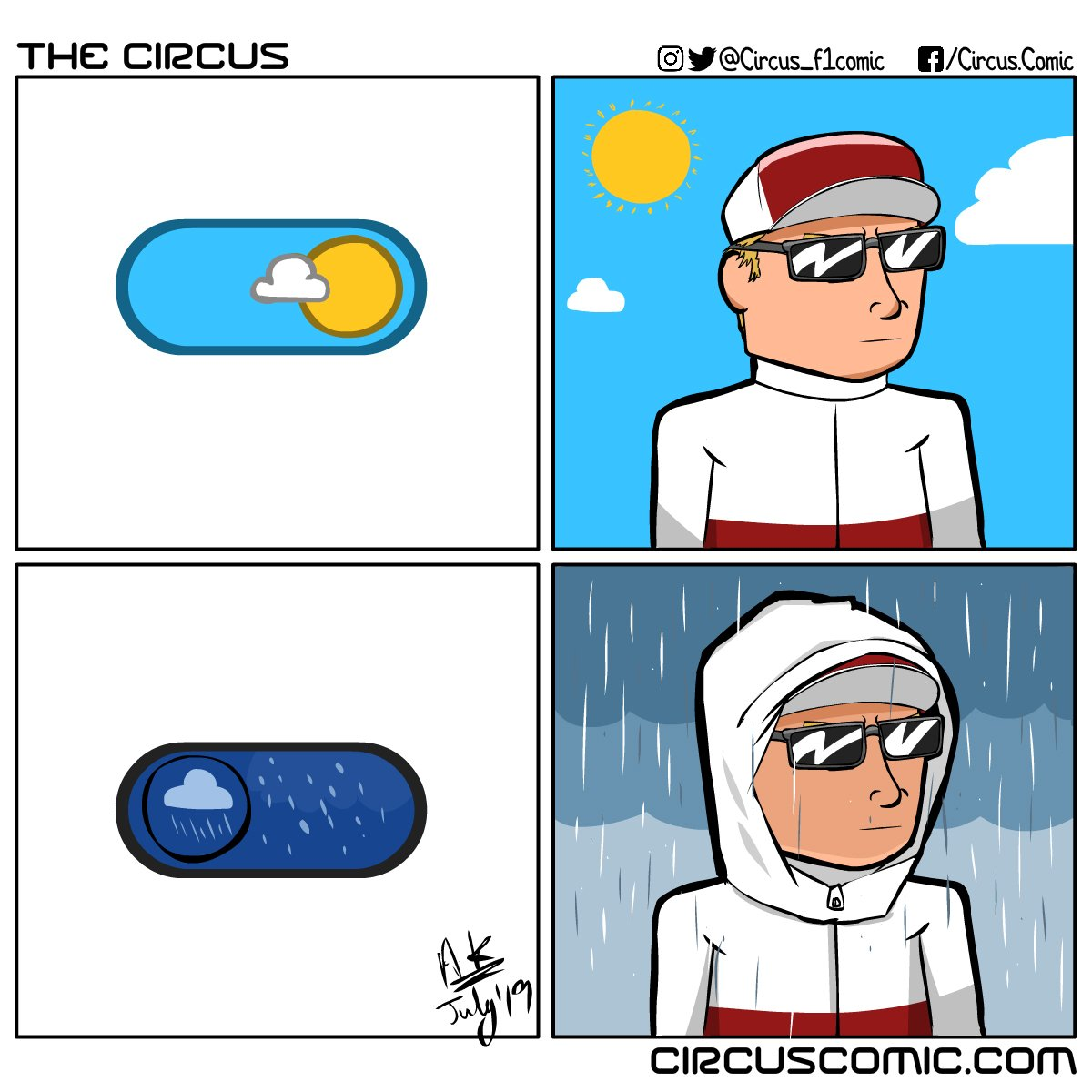 Day Mode. Rain Mode. The Iceman Mode never ends. @alfaromeoracing #KimiRaikkonen #F1 #germanGP