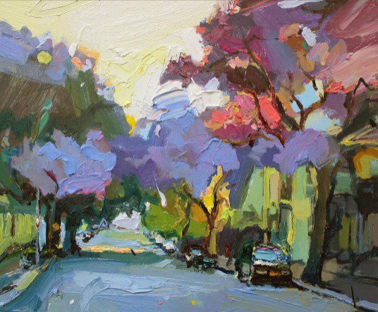 Afternoon Light in Cathedral Street, 35X45cm. #paintingoftheday #artgallery #abstractexpressionist
