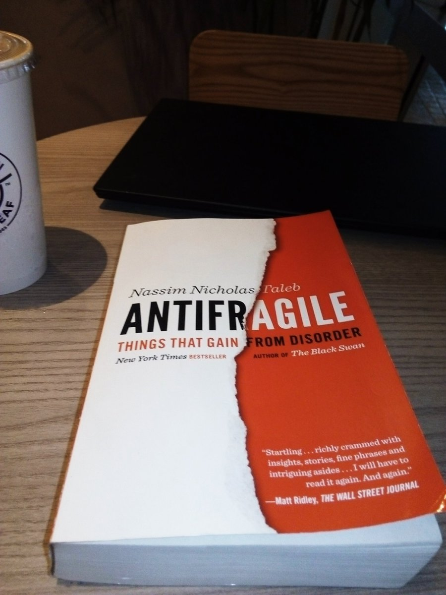 Reading Antifragile by @nntaleb tonight. Im about to reach halfway and the insights are staggering. This might be one of the most influential books for me this year. I want to live happily in a world I dont understand. pic.twitter.com/7MtEosIItd