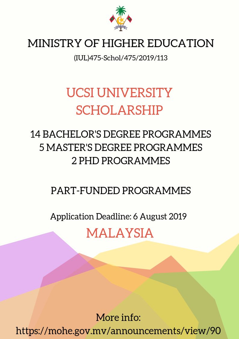 Ministry Of Higher Education On Twitter Ucsi University Scholarship Applications Are Open Now Https T Co Nqie6z12je