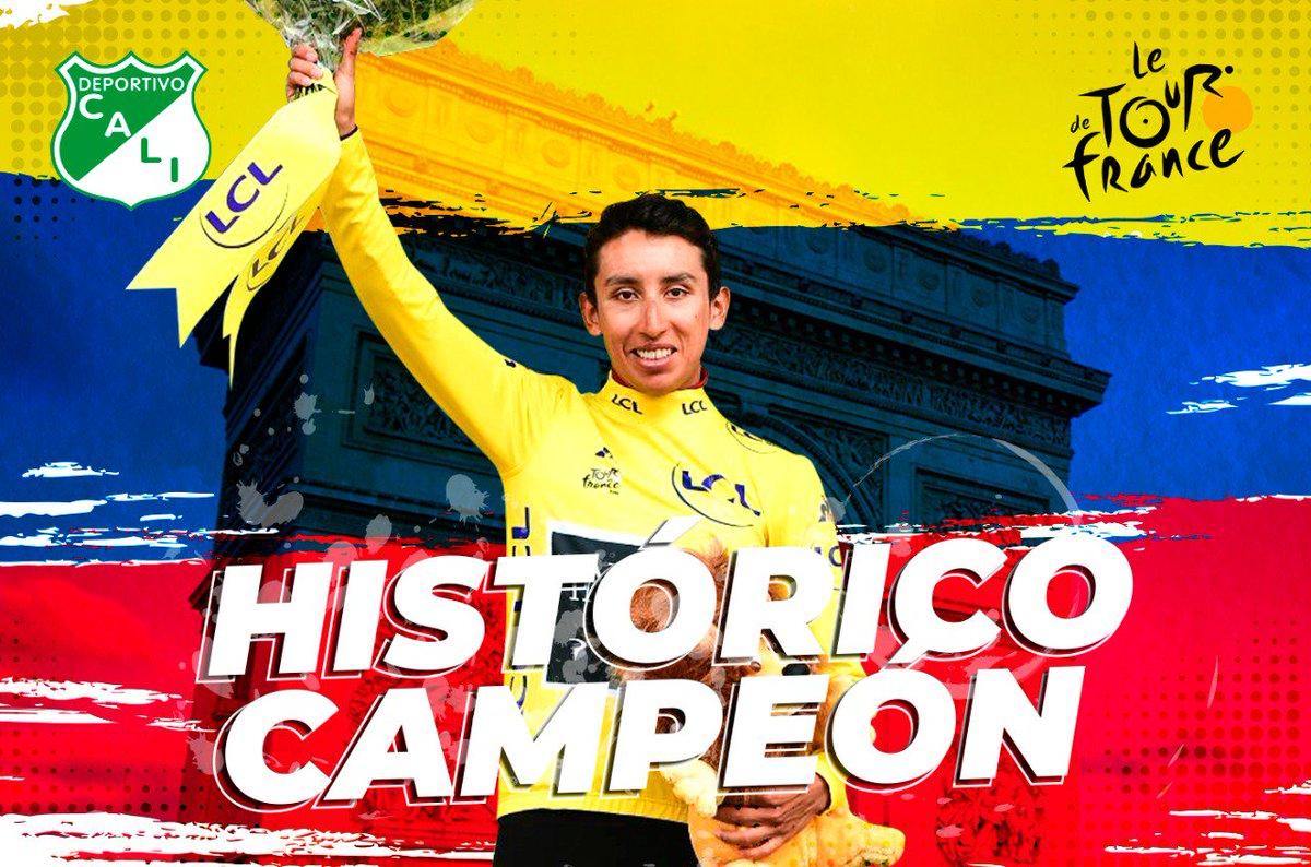 👏👏👏 En la Asociación Deportivo Cali honramos al flamante campeón de @letour. 🚴♂️🇨🇵🇨🇴🇨🇴🇨🇴 ¡FELICITACIONES, EGAN ARLEY BERNAL! ¡ORGULLO COLOMBIANO! 🇨🇴🇨🇴🇨🇴#TDF2019