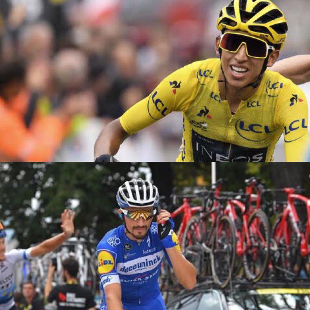Félicitations à Ergan Bernal vainqueur d'un exceptionnel Tour de France 2019 et un grand coup de chapeau à Julian Alaphilippe🇫🇷 Congratulations to Ergan Bernal winner of an exceptional Tour de France 2019 and a big up to Julian Alaphillippe 🇫🇷