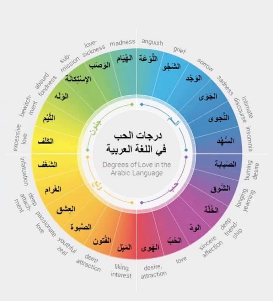 The degrees of love in the Arabic language.