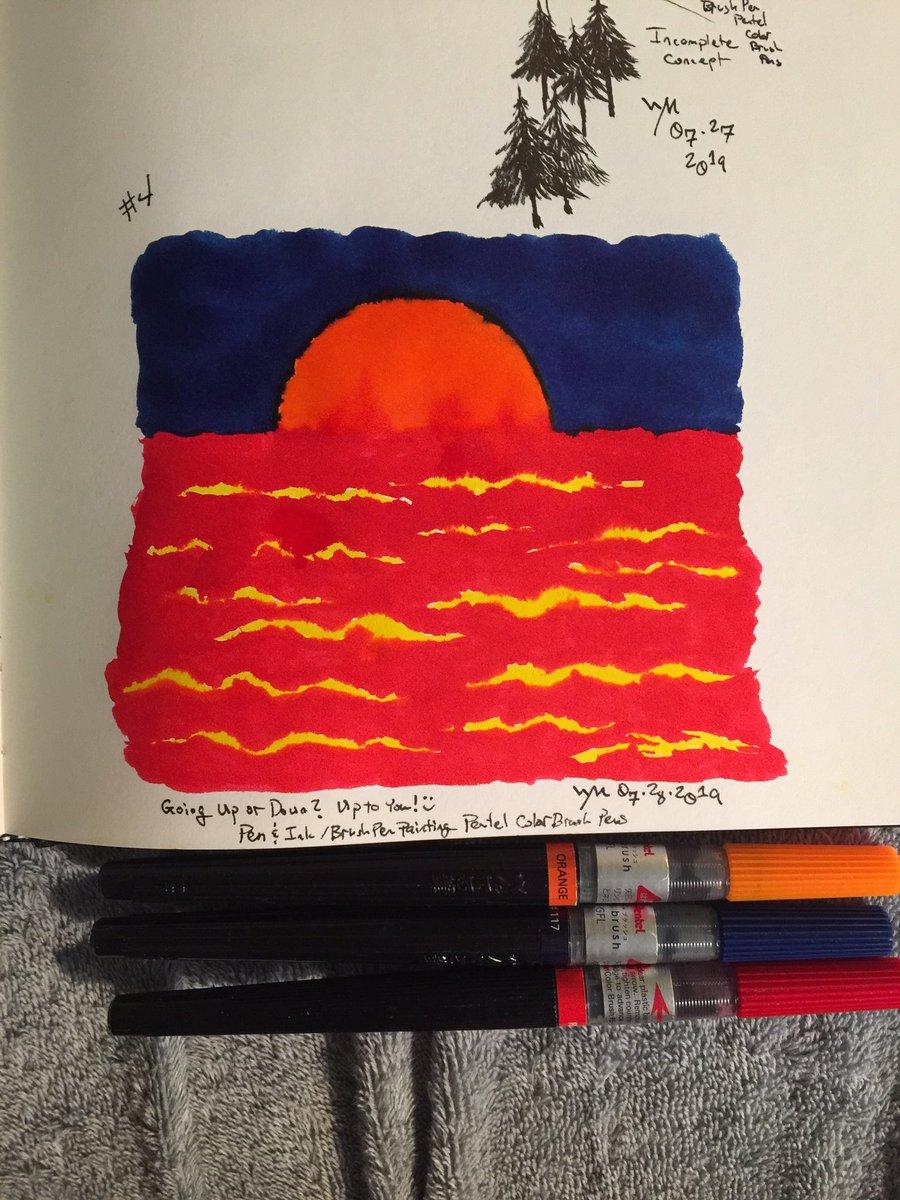 #wynart #sunrise #sunset #art #traditionalart #painting #inkpainting #penandink #sketch #brushpens #pentel #colorbrushpens #cansonsketchbookpic.twitter.com/aadW3tyxsy