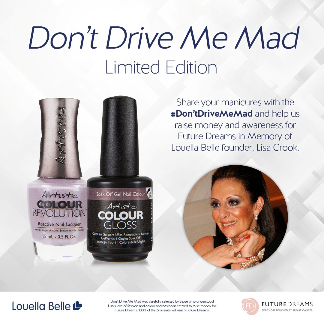 October is Breast Cancer Awareness month!  Louella Belle is getting involved with our 'Dont Drive Me Mad' shade, a limited edition shade created in honour of Louella Belle founder, Lisa Crook.   Discover more: https://t.co/y1LTHnkqBw) https://t.co/L7pJ6o0fOR