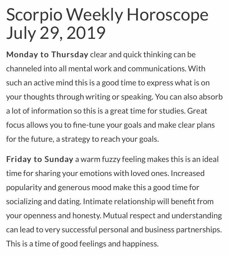 Scorpio Horoscope 2019 July
