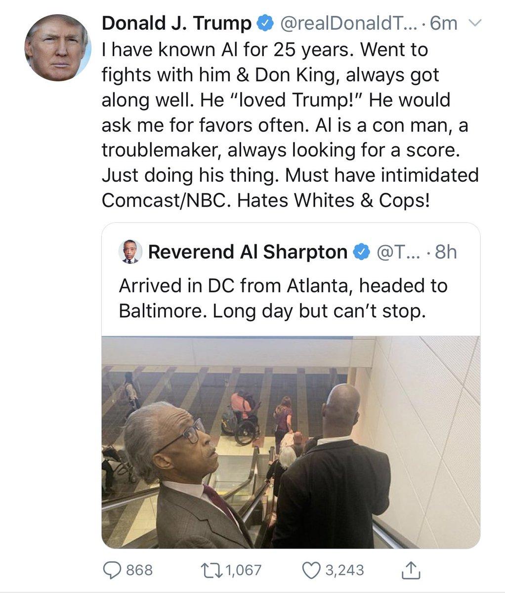 Image result for trump tweet al sharpton hates whites