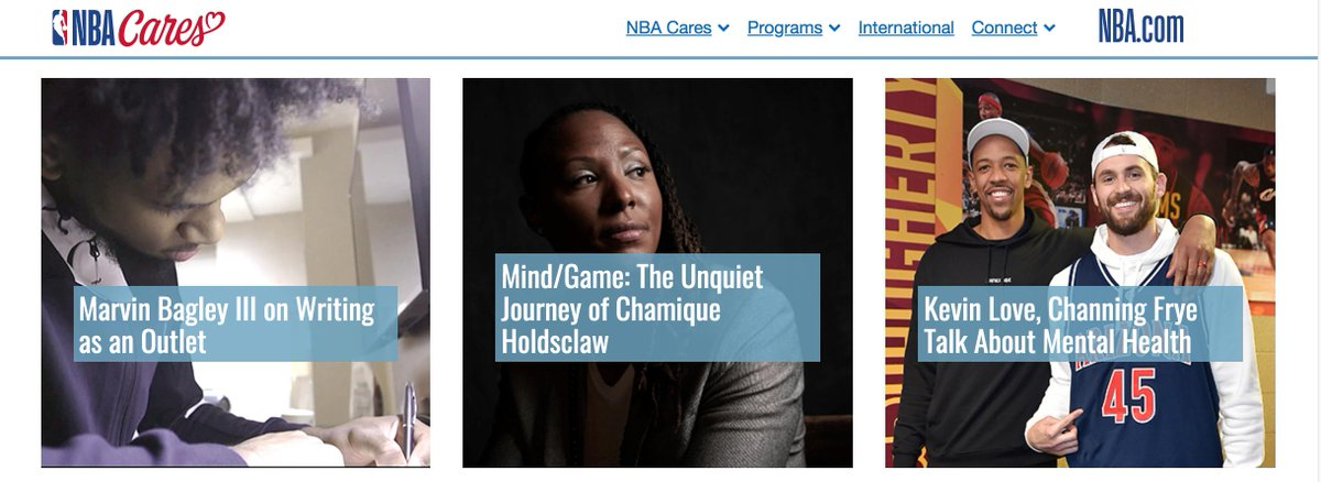 """A great new tool for mental health from the @NBA!  The website for """"NBA Cares"""" has 9 clips from the film @MindGameFilm by Rick Goldsmith. Check it out here: https://t.co/LNlkgzFOsm. And for info on the film: https://t.co/NT2Fw7m997 #mentalhealthadvocacy #mentalhealthmatters https://t.co/UCZCj2PDdx"""