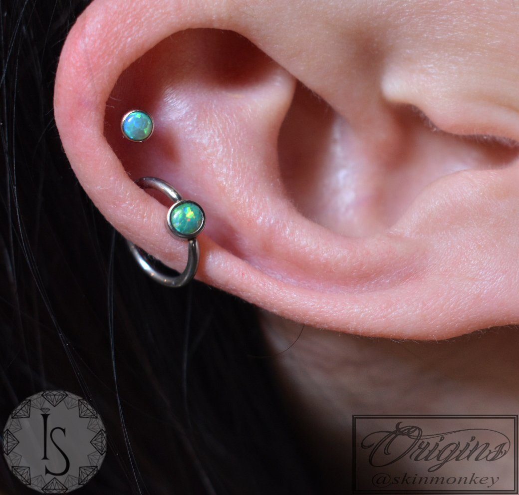 d2a0ce42a One fresh, one healed on this double helix piercing :) Featuring a  beautiful captive bead attachment with a matching pushfit Industrial  Strength attachment ...