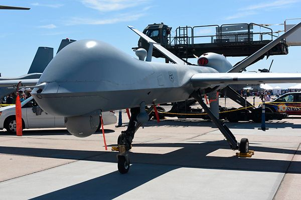 Imagen de un MQ-9 Reaper, vehículo aéreo no tripulado (VANT) o dron, desarrollado por General Atomics. Foto: Chris Hunkeler (CC BY-SA 2.0)