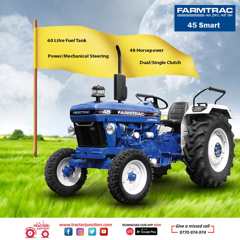 Farmtrac 45 Smart में है 3 Cylinder, 48 HP का Engine और