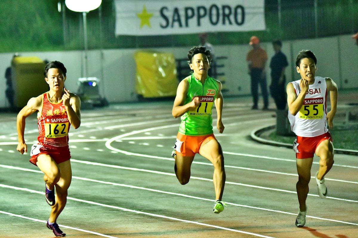 男子100m  安田圭吾(大東大)  今年は関東インカレ男子200mで4位入賞するなどライトグリーンのエースに定着した2年生。 「足おせぇ」と今大会を振り返ったが、全カレを想定したレースは今後に向けて糧になったはず。   #トワイライトゲームス https://t.co/3Efn28gd0f