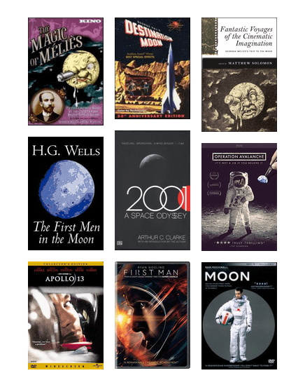This Wednesday at Shooting the Moon: Cinema of Space we'll explore Hollywood's depiction of space flight & lunar landings. Take a step or leap into these films, books & related resources:  http:// bit.ly/2KaCD3P     #kcSummerReads #Apollo50<br>http://pic.twitter.com/6VeXGFoMZL