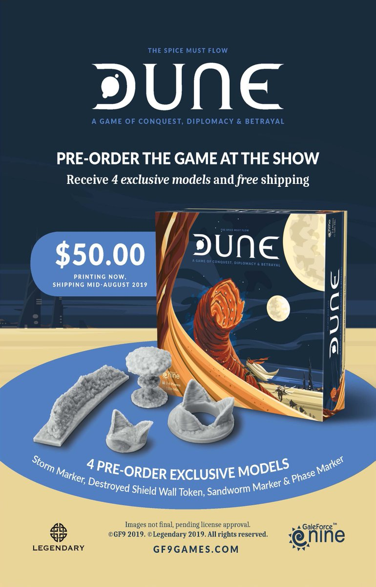 Attention Dune fans!  Pre-order a copy of Dune before Aug 4th, and receive a special bonus including the Storm, Phase and Sandworm markers!  Click here to pre-order your copy now 👇  https://bit.ly/2JPzdDJ