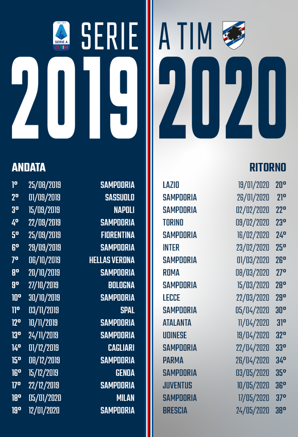 Calendario Serie A Sampdoria.U C Sampdoria On Twitter Seriea 2019 20 Il