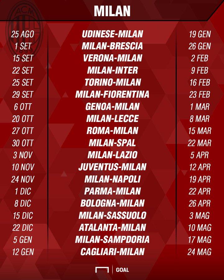 Calendario Milan Europa League.Roma 2019 2020 Schedule