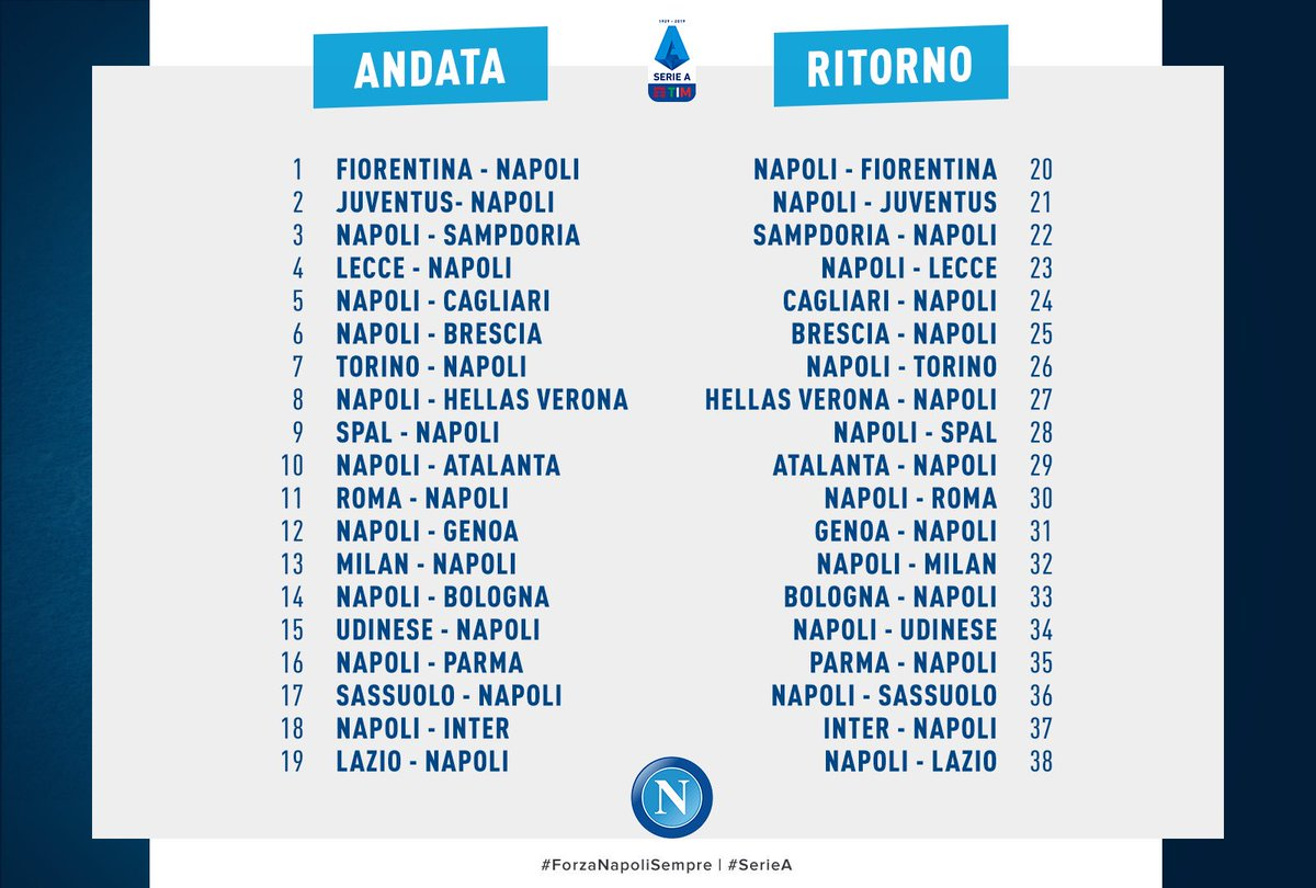 Calendario Serie A 2020 Napoli.Official Ssc Napoli On Twitter Il Calendario Completo