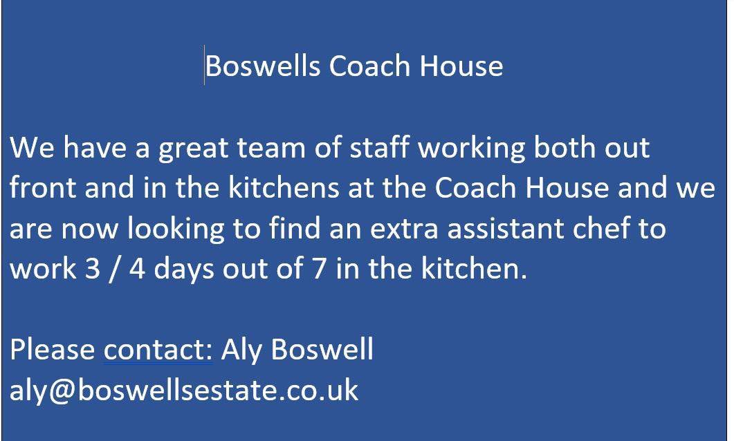 @BoswellsCH looking for staff. Great opportunity and a fantastic place!