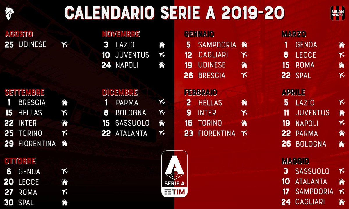 Calendario Partite Juve 2019.Milannews It On Twitter Il Calendario Rossonero