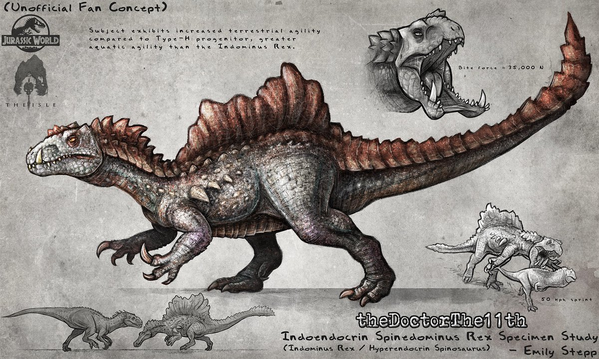 Hybrid crossover creature concept for @thDoctorTHE11th #FanArt #MonsterMonday #GameArt #TheIsle #JurassicWorld #JurassicWorldEvolution #Art #CrossoverArt #DinosaurHybrid #HyperendocrinSpinosaurus #IndominusRex