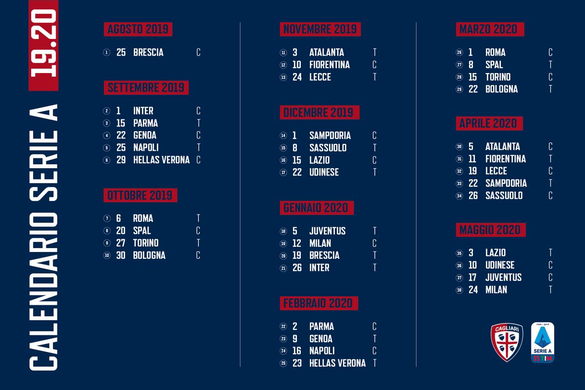 Como Calcio Calendario.Cagliari Calcio En Twitter Serieatim 2019 20 Il