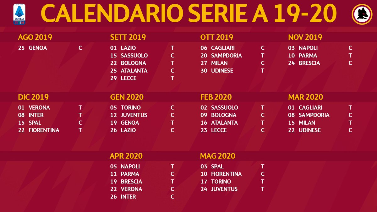 Calendario Partite Spal 2020.As Roma On Twitter Pfonsecacoach E Un Calendario