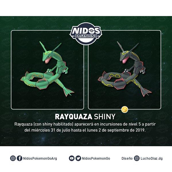 Imagen de Rayquaza shiny y normal en Pokémon GO hecho por Nidos Pokémon GO Argentina