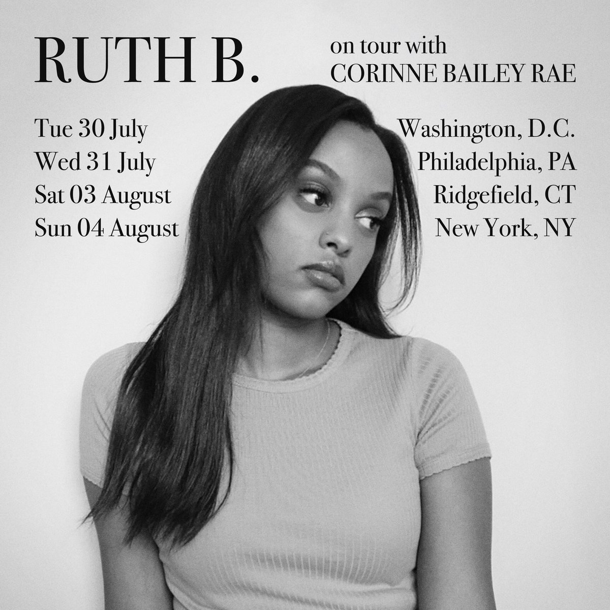 couple shows this summer opening up for the amazing @CorinneBRae promise im more excited than I look in this pic hehe. hope to see u ruthbofficial.com/tour