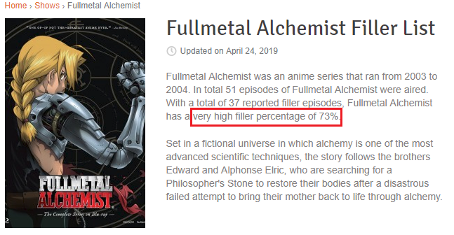 Fullmetal Alchemist Filler Episode List - Full Metal