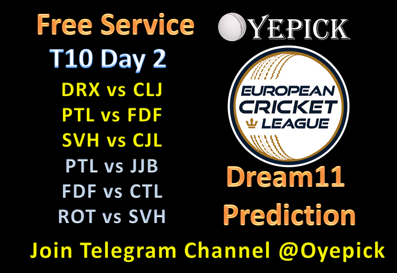 Day 2 European Cricket League #ECL19 T10 Match Prediction - All Six match Prediction #OyepickFor Free Fantasy Team (#Dream11) join us telegram :: https://t.me/oyepick        (Proof is there)#European  #T10 #League #DRXvCLJ #PTLvFDF #SVHvCJL #PTLvJJB #FDFvCTL #ROTvSVH
