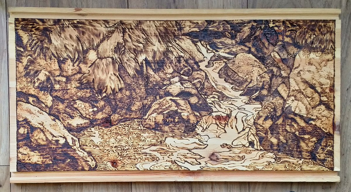 Natalie Rowland On Twitter I Do Believe It Is Done Full Making Of Video For Tomorrow Provided My Laptop Survives Pyrography Pyrographyartists Woodburning Waterfall Landscape Illustration Background Workinprogress Finishline