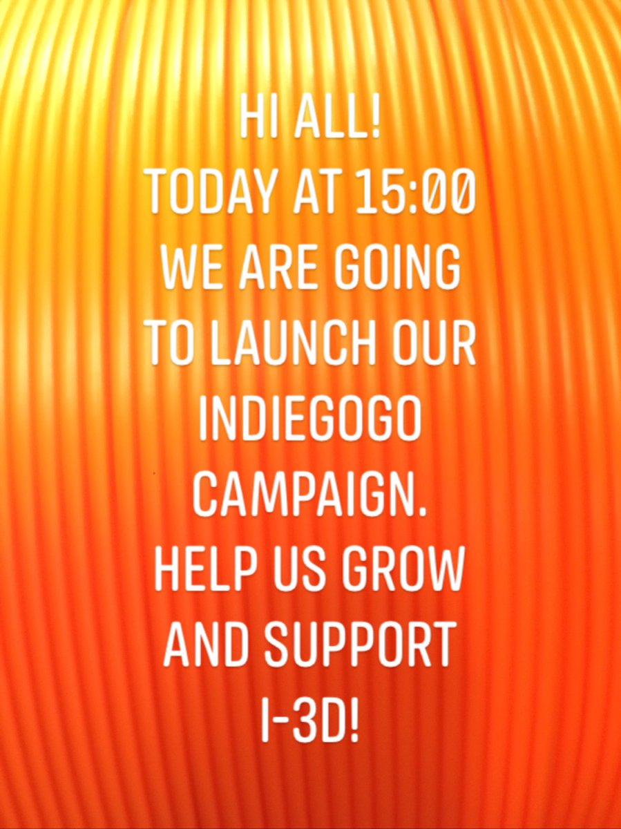 Hi all! Today is the day. Around 15:00 CET we are going to launch our INDIEGOGO campaign! Help us develop and become our backer. Select your Perks and lets create it together! #3dprint #3dprinting #3dprinted #3dprinter #3dpart #technology #filament #3dp #3dprintingindustry