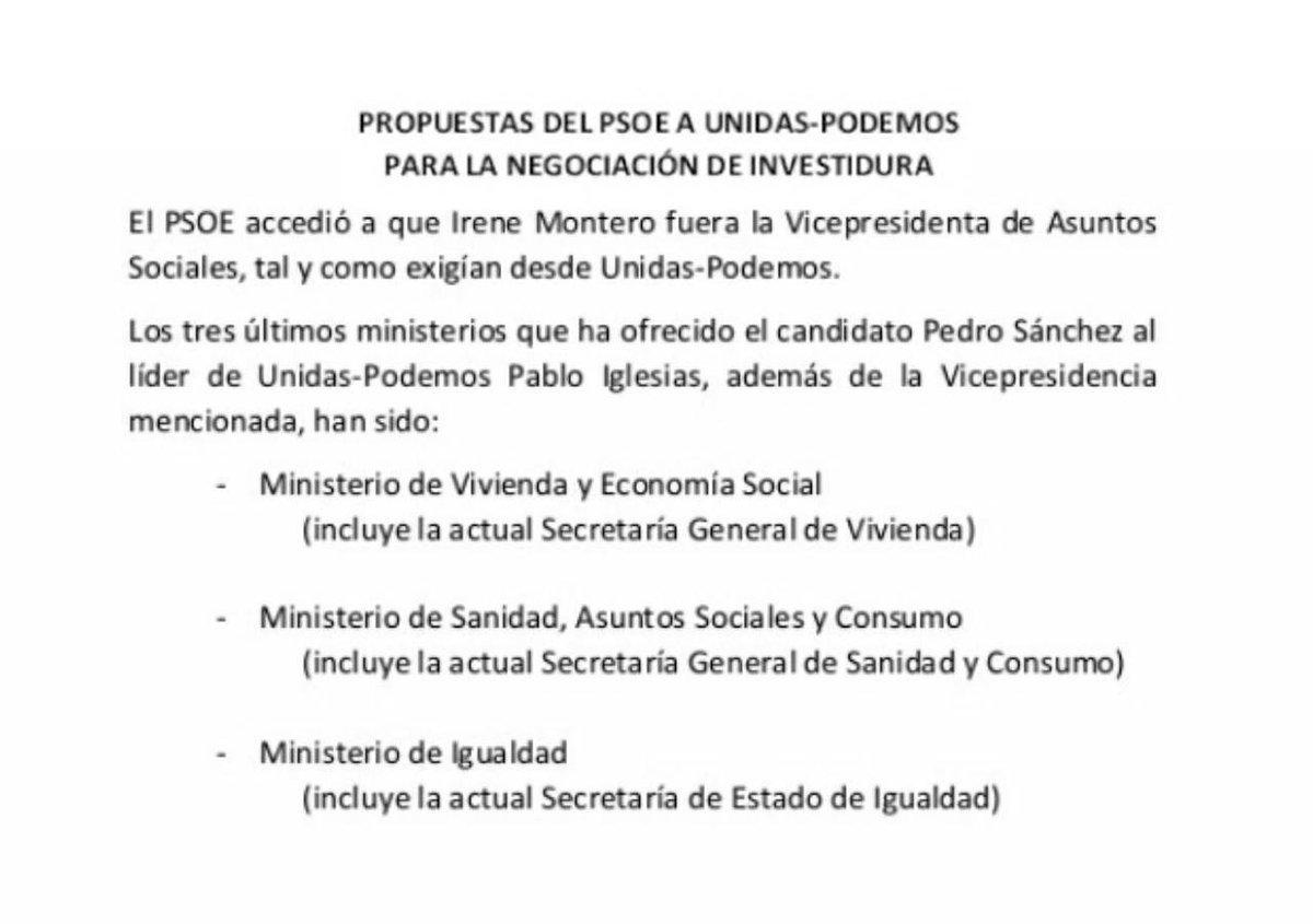 """Explicación pormenorizada de las """"competencias ministeriales"""" ofrecidas por el PSOE a Podemos"""