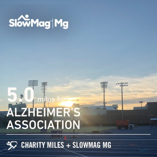 Working on form. 5.0 @CharityMiles on the track for @alzassociation. Thx #SlowMag for sponsoring me.