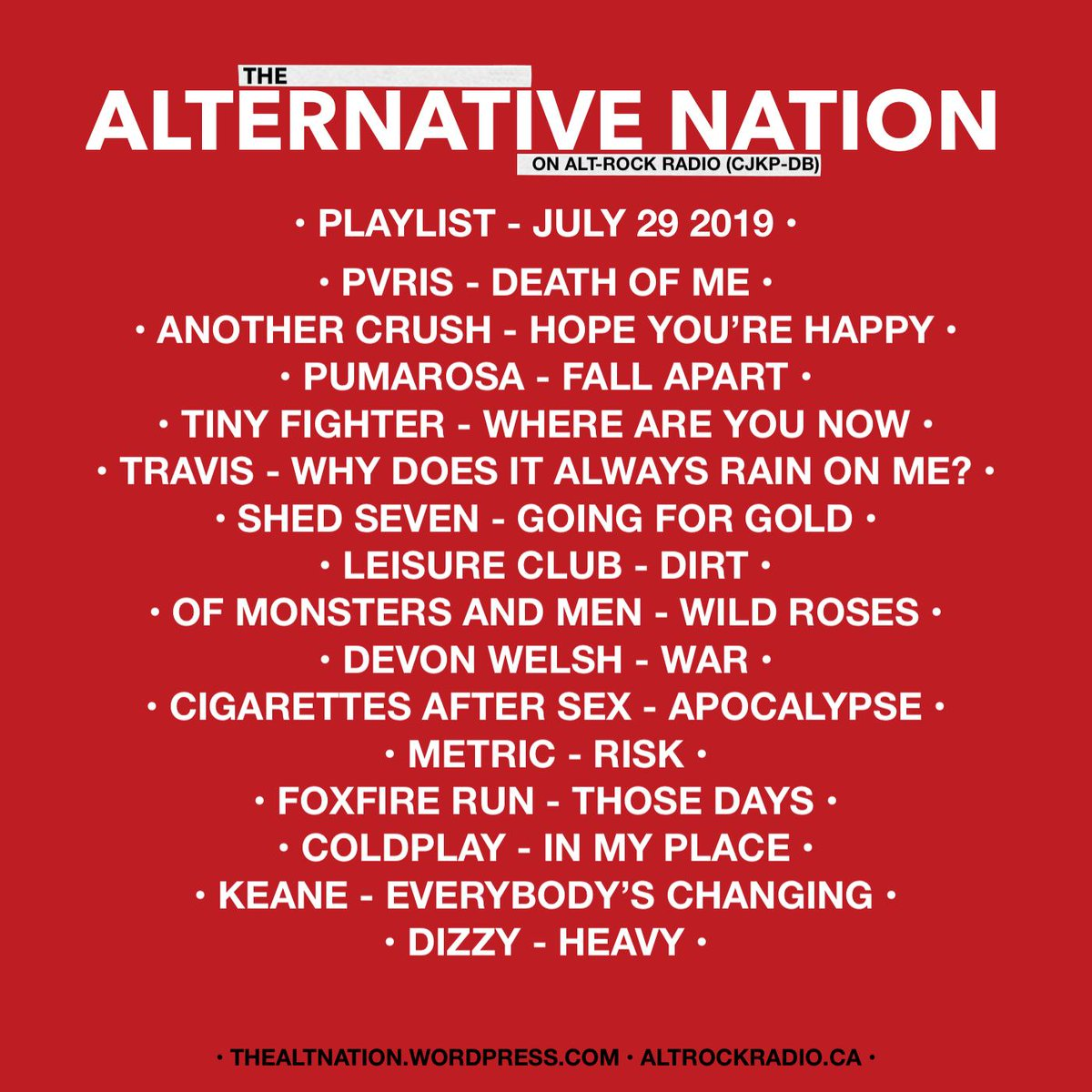 Playlist for last nights edition of The Alternative Nation Radio Show on @altrockradioca What's your track featured? #Playlist #Radio #RadioShow #yourFMalternative #Canada #CanadaRocks #Indie #Alternative #AltRock #Rock #Pop #Musicpic.twitter.com/KBJvLpen4Y