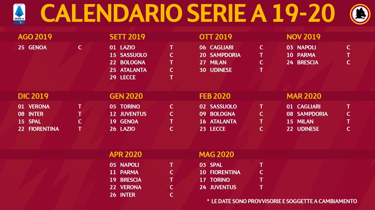 Asroma Calendario.As Roma On Twitter Il Nostro Calendario Della Serie A