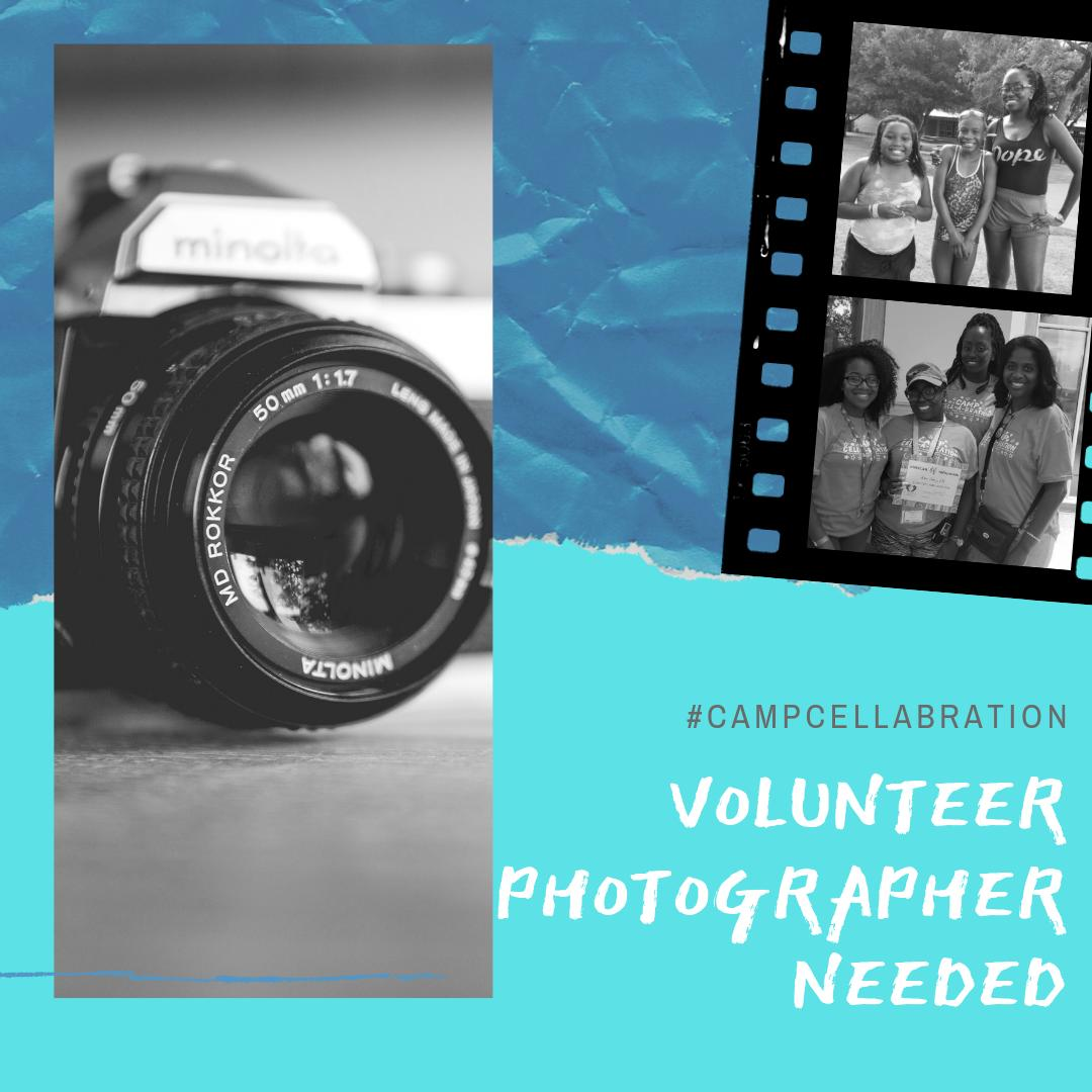 We could use an experienced photographer to capture the life-changing moments at #CampCell-A-Bration next week. Please DM us for details! #capturesmiles #sicklecelldisease #smile #saycheese https://t.co/F3GafeY8F8