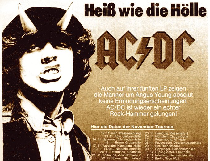 's Media: AC/DC played 18 shows in Germany in November and December '79. Were you there? ⚡️#H2H40 https://t.c