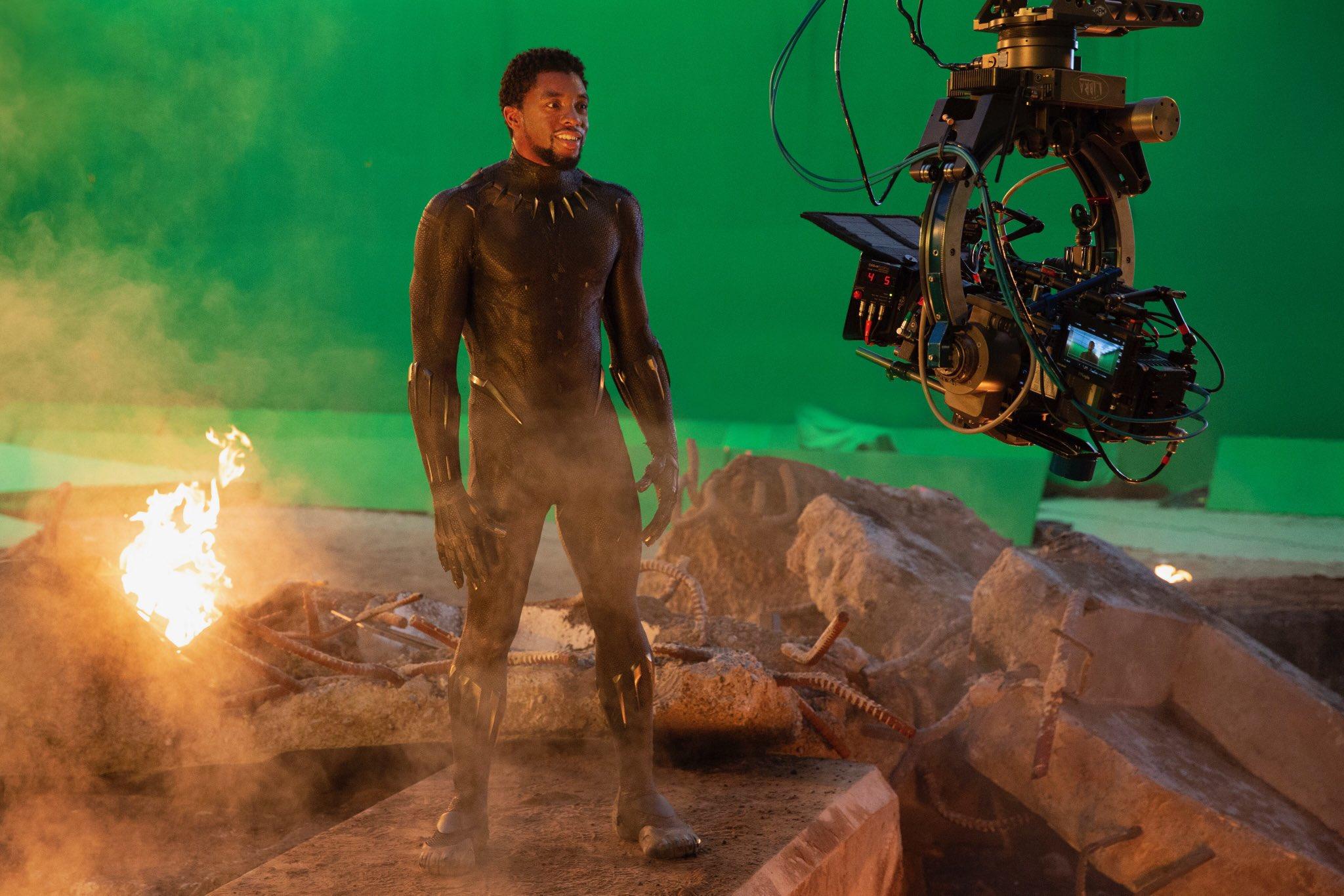 Chadwick Boseman on set of Avengers: Endgame