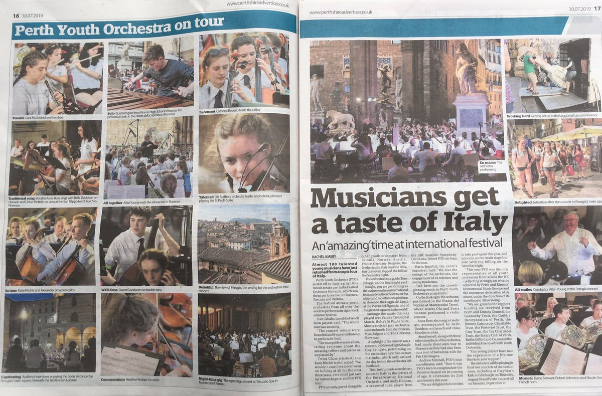 Don't miss @The_PA today for coverage of our Italian Tour. Our players come from every secondary @PerthandKinross and PYO were the only UK representatives at the Festival of Youth Orchestras in Florence.  Loving how choice of  #focalpoint wins Catriona Roberts front desk status https://t.co/2fx8Cg13go