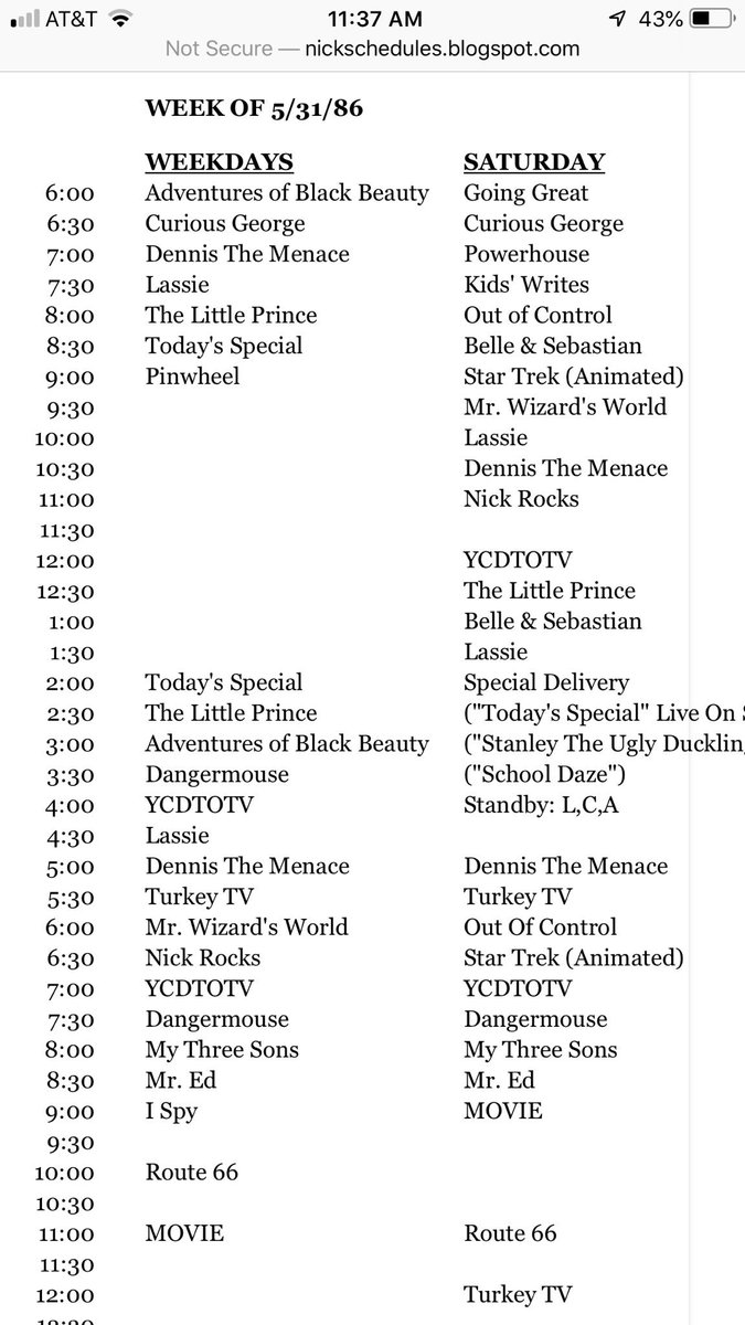 Nickelodeon schedule from 1986  I'd always be waiting for