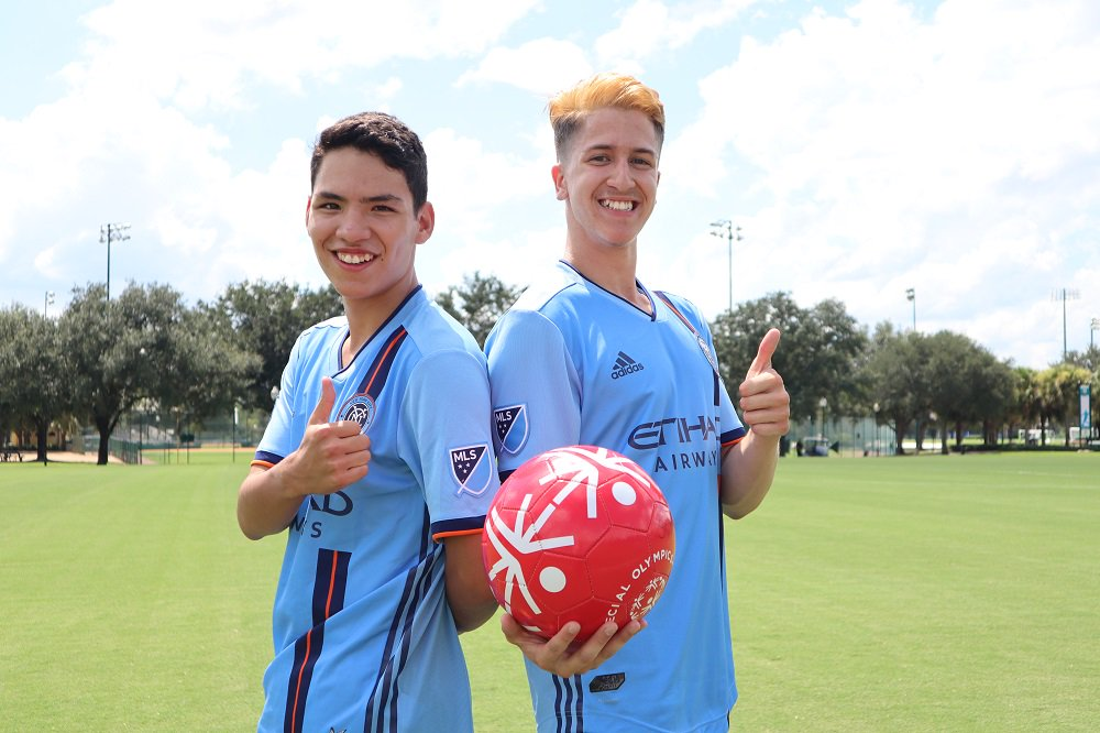 Coming in from New York to #PlayUnifiedMLS, we have Adrien Ochoa & Nathan Vazquez from @NYCFC & @SpecOlympicsNY! #MLSAllStar