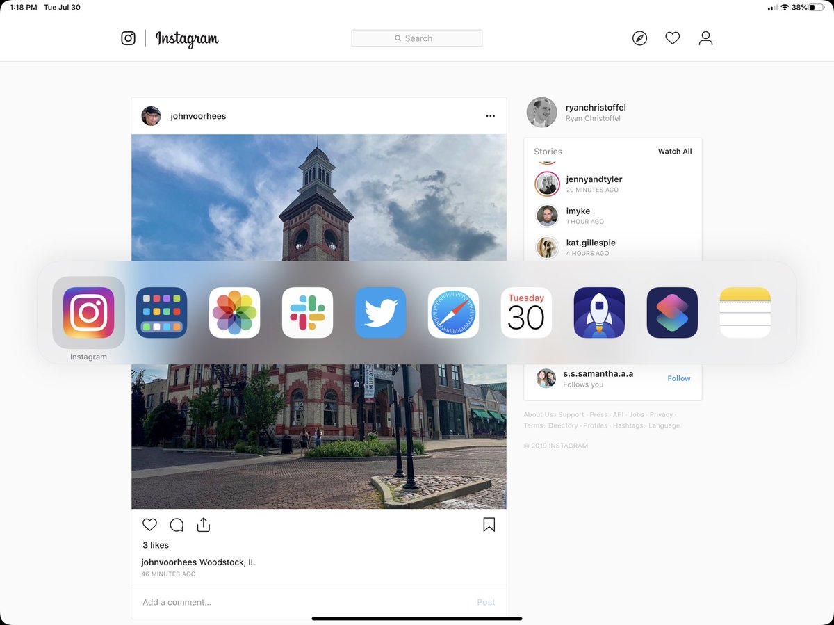 Websites saved to the Home screen get a huge upgrade in iPadOS 13, finally behaving like true apps. 🎉 They open as stand-alone apps, not Safari tabs, and display as such in the app switcher. They also hide Safari's toolbar. Works beautifully with http://Instagram.com.
