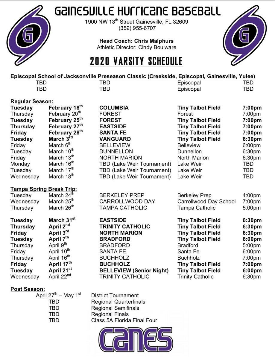 Alachua County School Calendar 2020-21 Gainesville Baseball (@GHSCaneBaseball) | Twitter