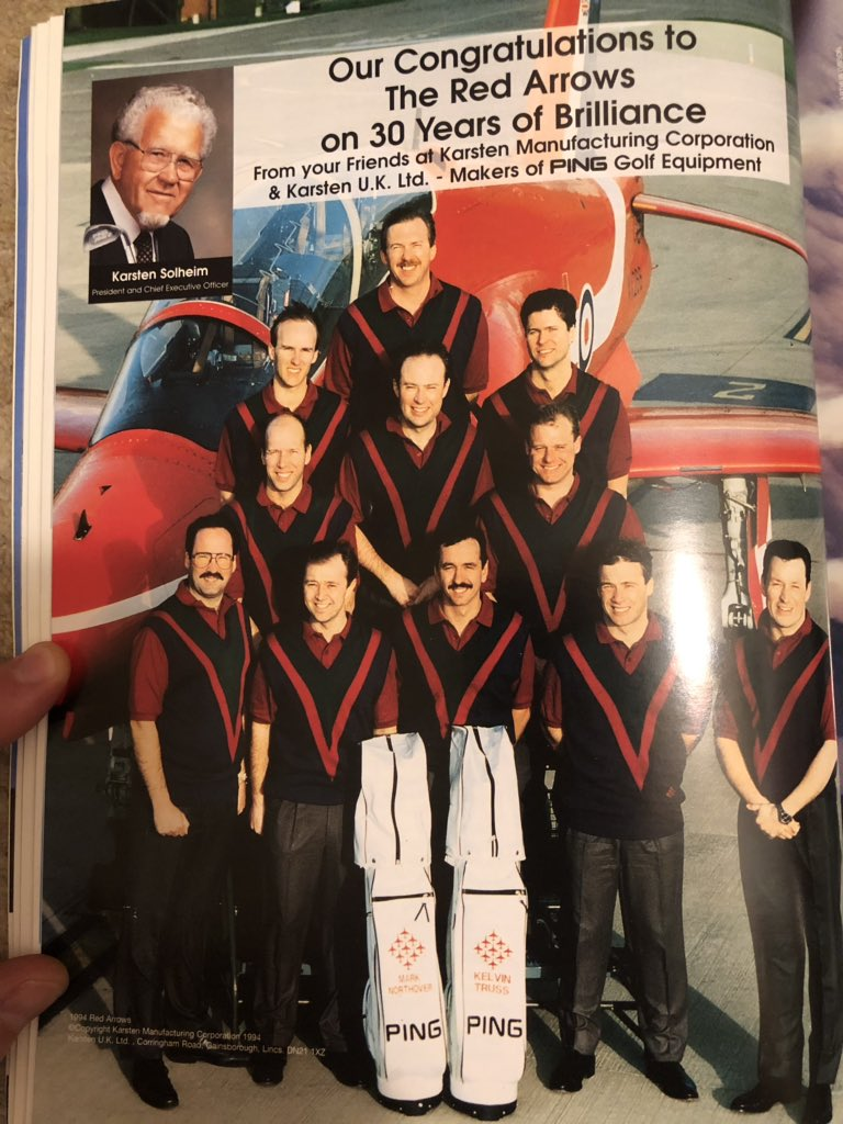 @RAFRed1 @Breitling @Asalidesigns @grensonshoes @kittags @PINGTourEurope @BarbourInt @Barbour @OxfordVaughan And to add Perty, it's interesting to see Ping are still supporting RAFAT - as this picture from the ECLAT 30 years book shows. Personalised RAFAT golf bags!