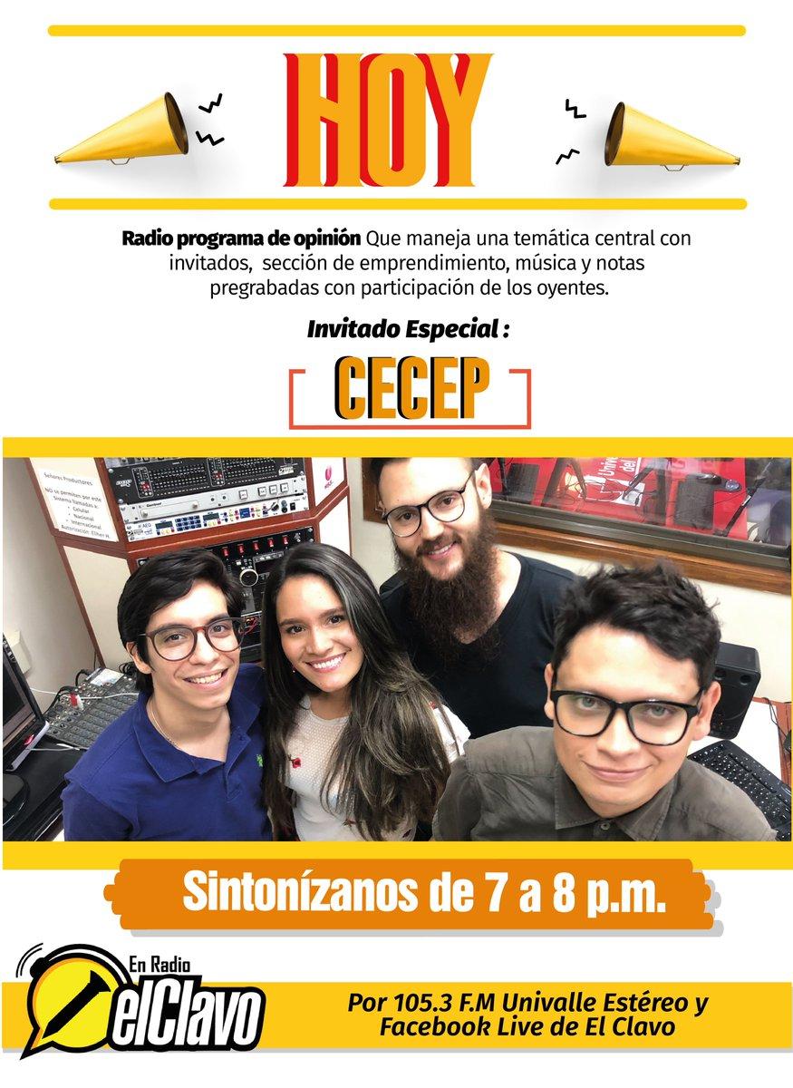 Hoy en El Clavo en radio tendremos al @FCECEP, sintonízanos de 7:00 a 8:00 PM, por 105.3 F.M Univalle Estéreo y por nuestro Facebook Live de el Clavo. https://t.co/eYswUjKKsG