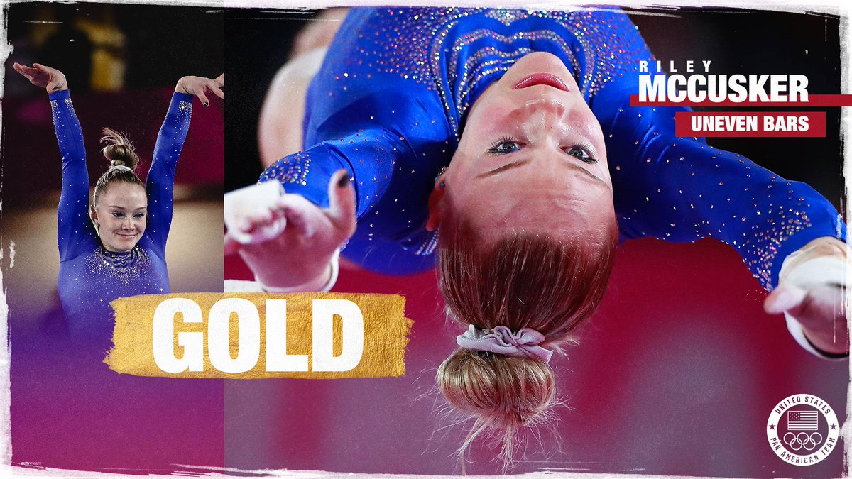 The 𝒎𝒊𝒈𝒉𝒕𝒚 McCusker @mccusker_riley soars to uneven bars gold — her third medal won at #Lima2019. 💪
