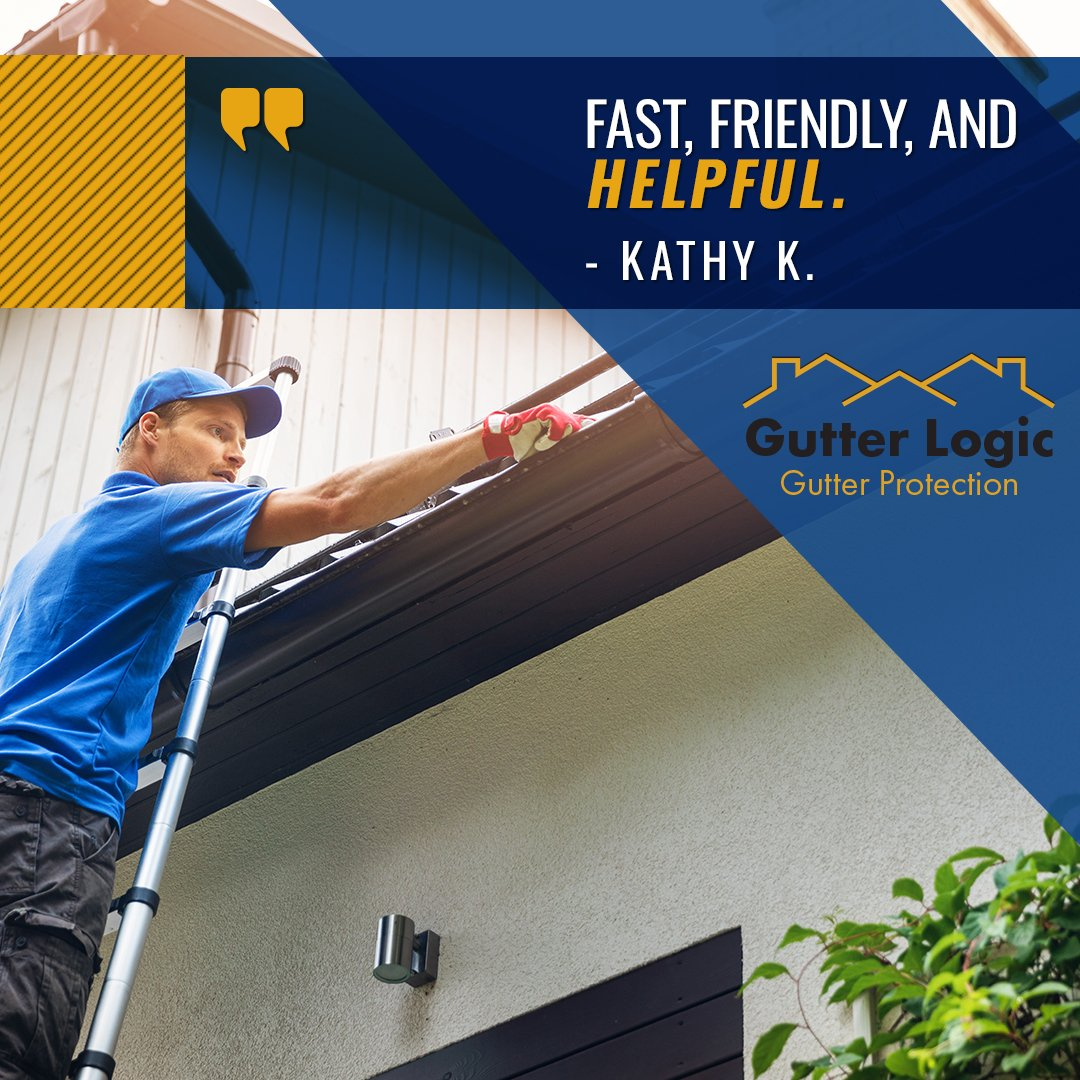 Fast, friendly and helpful. Even cleaned the sticks off my roof. Rained the next day and gutters worked perfectly. – Cathy K. Thanks, Cathy! Were glad to hear you are pleased with our products and installation!